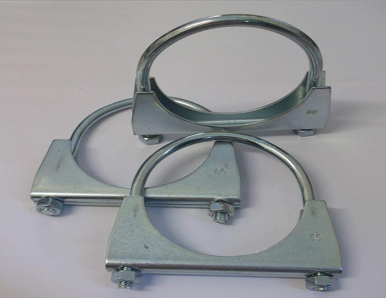MN 3 Colliers de Serrage en U pour Pot d/échappement de 80 mm.