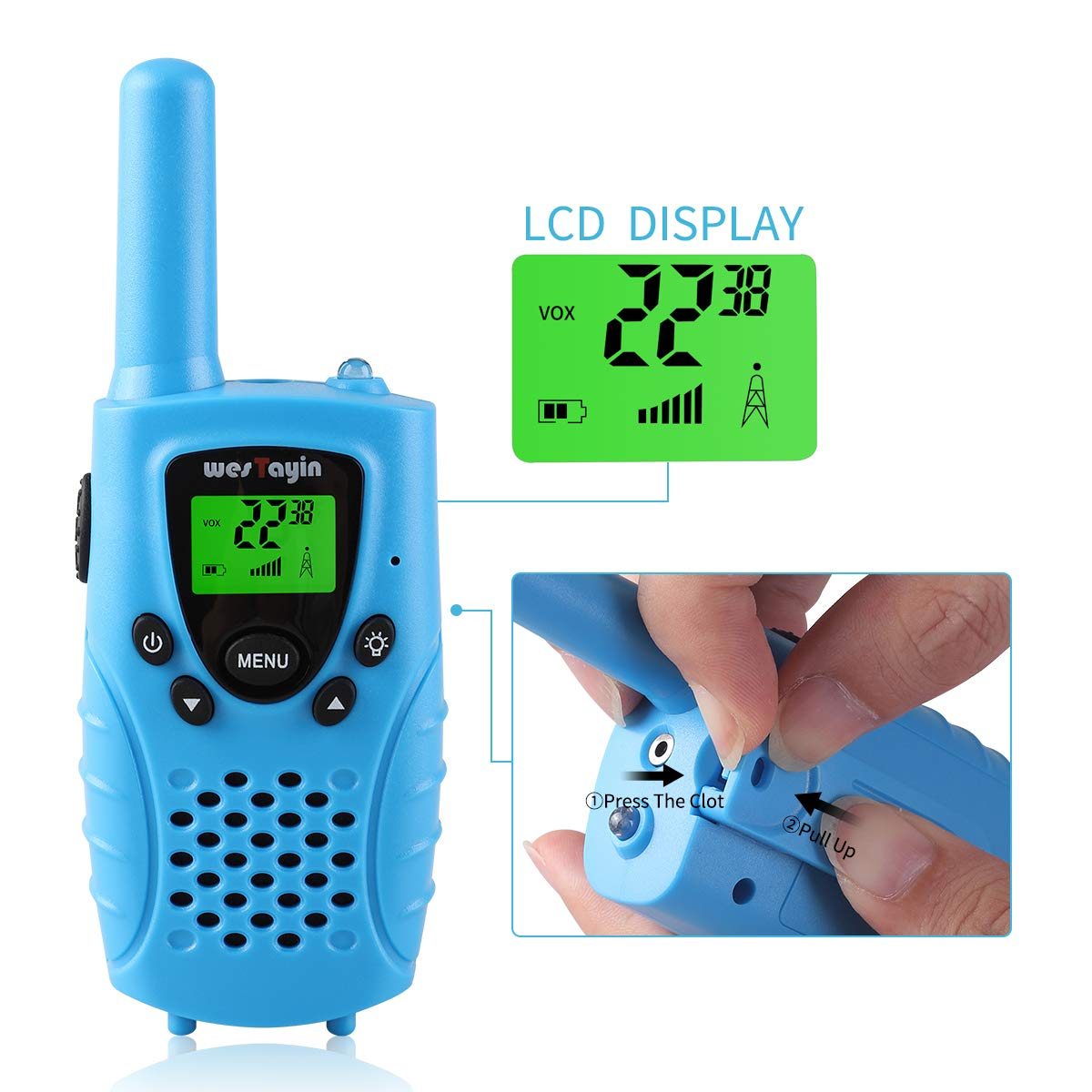 WES TAYIN Kids Walkie Talkies Rechargable, 4 Miles Long Range Walkie Talkies Toy with Durable Rugged Sports Design and Flashlight, Two Way Radios Toy 2 Pack, Batteries not Included(Blue) by WES TAYIN (Image #3)