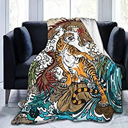Personalized Custom Throw Blanket,Chinese Dragon And Tiger In The Landscape With Waterfall, Rocks, Plants And Clouds…