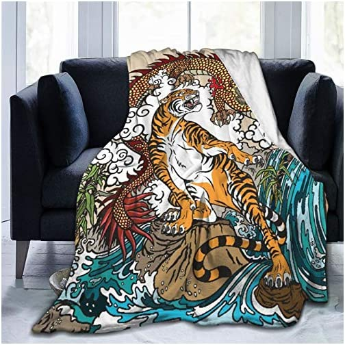 Personalized Custom Throw Blanket,Chinese Dragon And Tiger In The Landscape With Waterfall, Rocks, Plants And Clouds… |