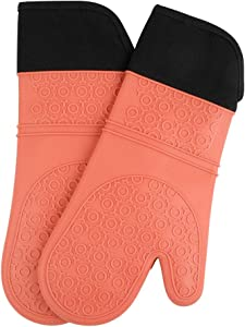 Eco inspired Silicone Oven Mitts, Non-Slip Resistant Oven Mitts with Cotton Liner for Kitechen ,BBQ Grill Food, Heat Resistant up to 450°F Degree,Protect Hands from Hot Surfaces, Orange, 1 Pair