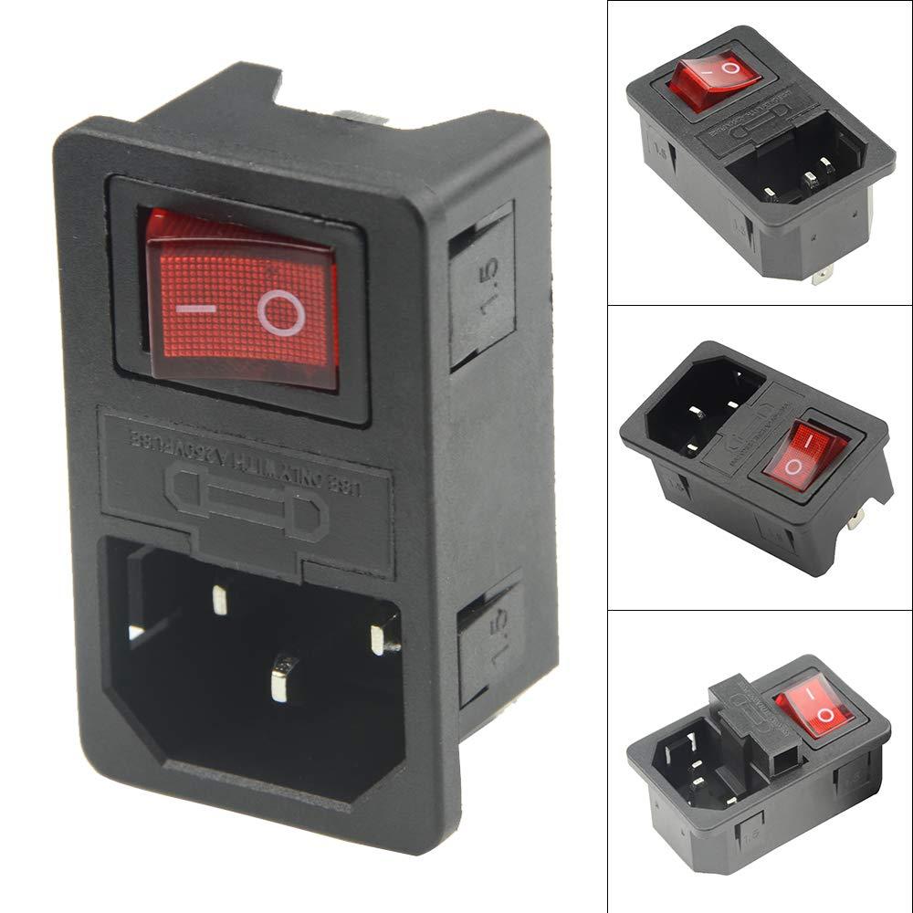 WMYCONGCONG 8 PCS Inlet Module Plug Fuse Switch Male Power Socket 10A 250V 3 Pin IEC320 C14