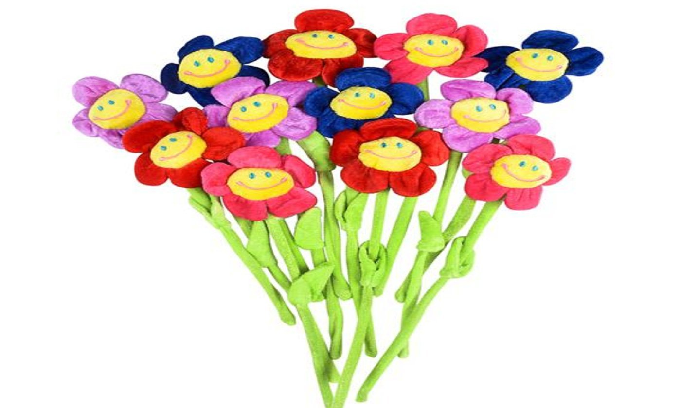 Amazon bendable 13 plush smiling face daisy flowers party amazon bendable 13 plush smiling face daisy flowers party supplies 12 per order everything else izmirmasajfo