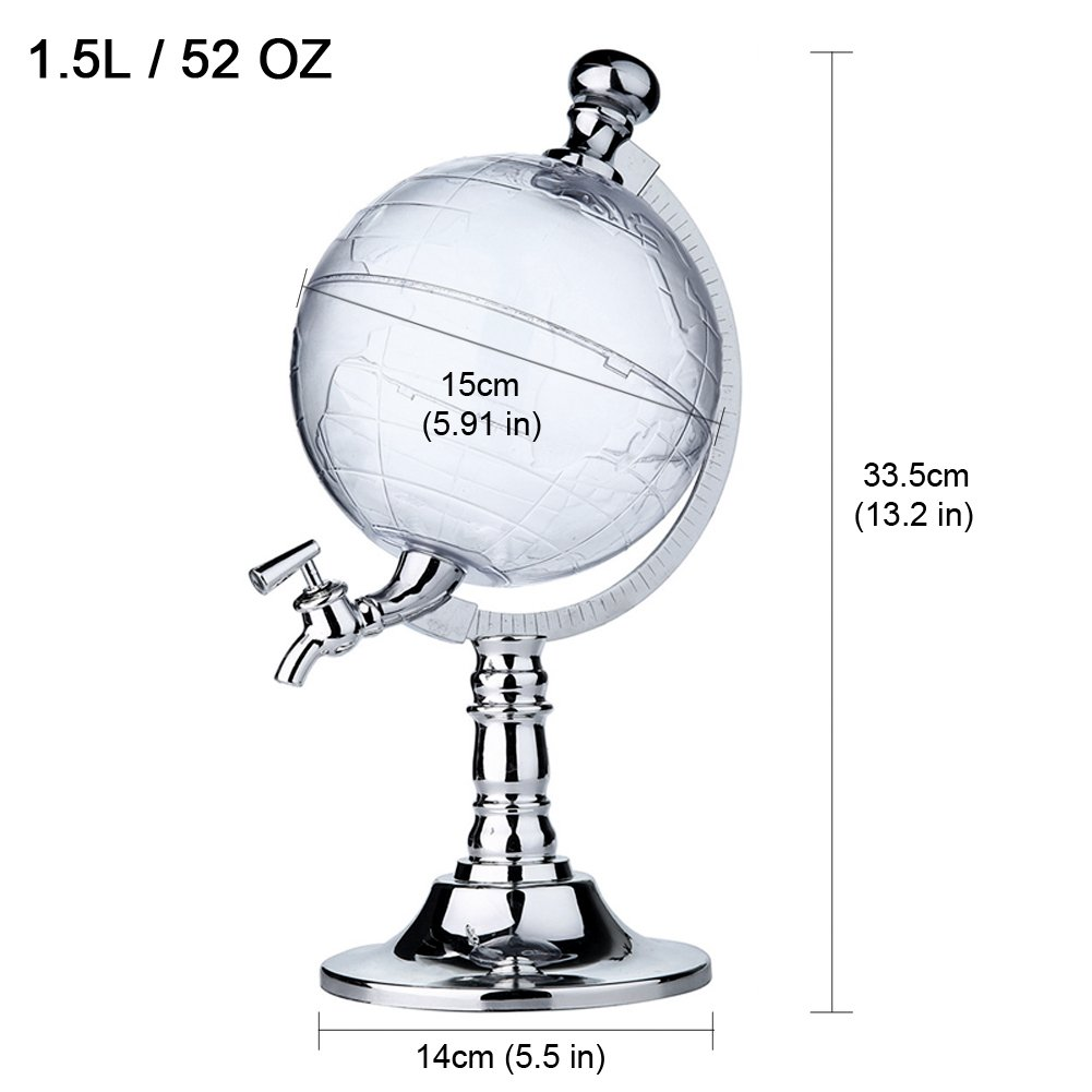 Globe Style Liquor Decanter for Beer Mini Bar Accessories 52 OZ Liquid Drinking Separate Wine Tools Inverted Wine Rack Water Pump Dispenser Machine By OAKZIP by OAKZIP (Image #2)