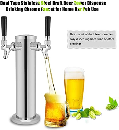 GOTOTOP Doble Taps Acero Inoxidable Torre de Cerveza Grifo de Cromo para Dispensar Bebidas para Uso en Hogar Bar Pub