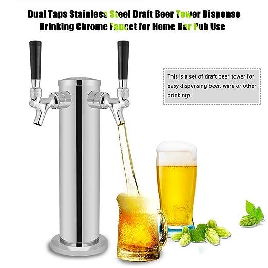 Compra GOTOTOP Doble Taps Acero Inoxidable Torre de Cerveza Grifo de Cromo para Dispensar Bebidas para Uso en Hogar Bar Pub en Amazon.es