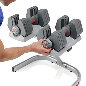 Universal PowerPak Adjustable Dumbbells with Stand