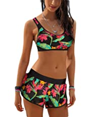 Women's Two Piece Boyleg Short Swimsuits Sporty Bathing Suit Swimwear
