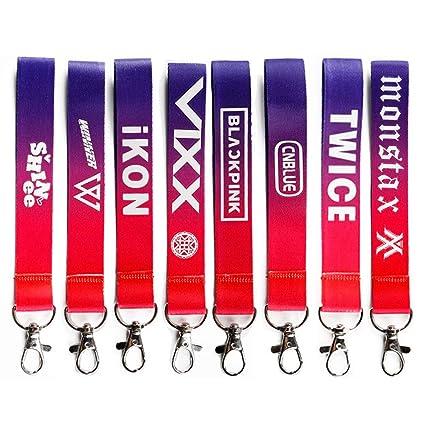 GOTH Perhk Kpop Blackpink Twice Shinee Schlüsselbund Handschlaufe Lanyard Strap mit Metallverschluss für Schlüsselanhänger, Kamera, Handy