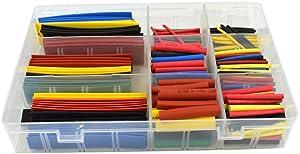 URBEST328 Pcs Assorted Heat Shrink Tube 5 Colors 8 Sizes Tubing Wrap Sleeve Set Combo