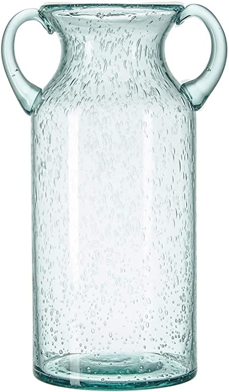 Flower Vase Glass Elegant Double Ear Decorative Handmade Air Bubbles Bluish Color Glass Vase For Centerpiece Home Decor Large Kitchen Dining