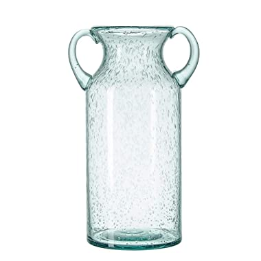 Sunkey Flower Vase Glass Elegant Double Ear Decorative Handmade Air Bubbles Bluish Color Glass Vase for Centerpiece Home Decor (Large)