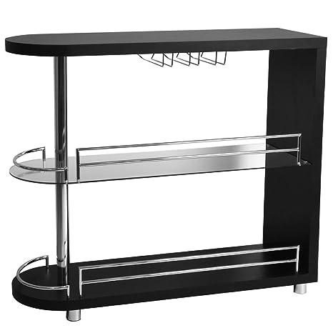 Amazon.com: Homegear Deluxe – Barra de cocina mesa – Negro ...