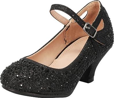 1c0ebc2b496 Cambridge Select Girls  Closed Round Toe Crystal Rhinestone Mary Jane Low  Kitten Heel Pump (