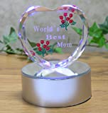 Light up LED Heart for Mom - Worlds Best Mom - Etched Glass Heart on LED Lighted Base - Gifts for Mom - Mom Gifts