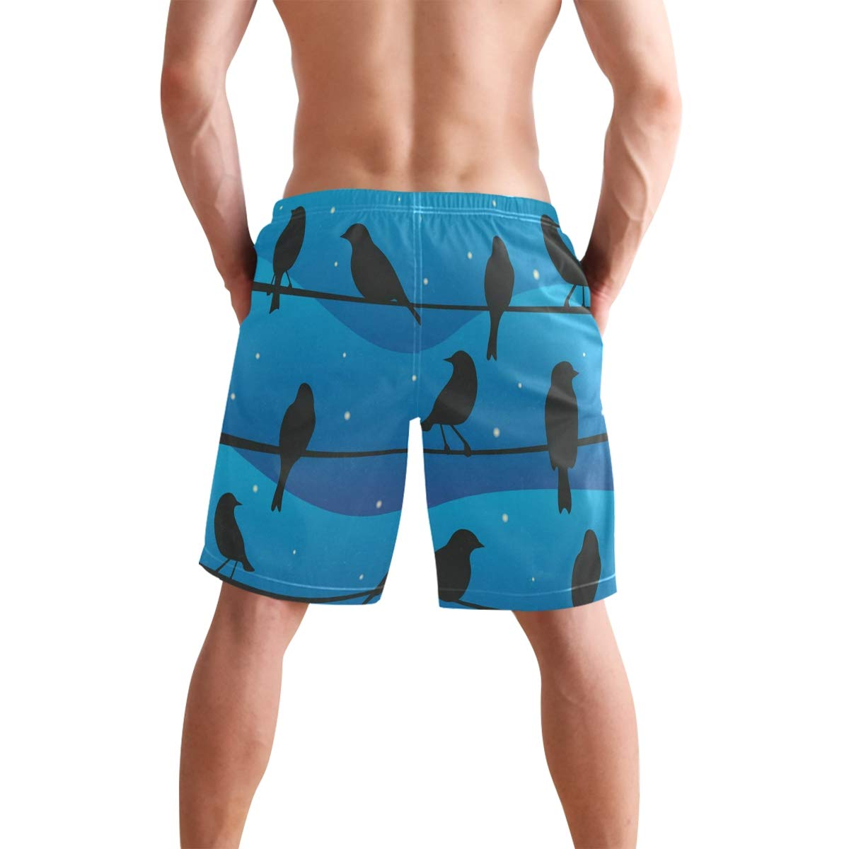 Casual Mens Swim Trunks Breathable Quick Dry Printed Beach Shorts Bird On A Wire at Night Summer Boardshorts with Mesh Lining