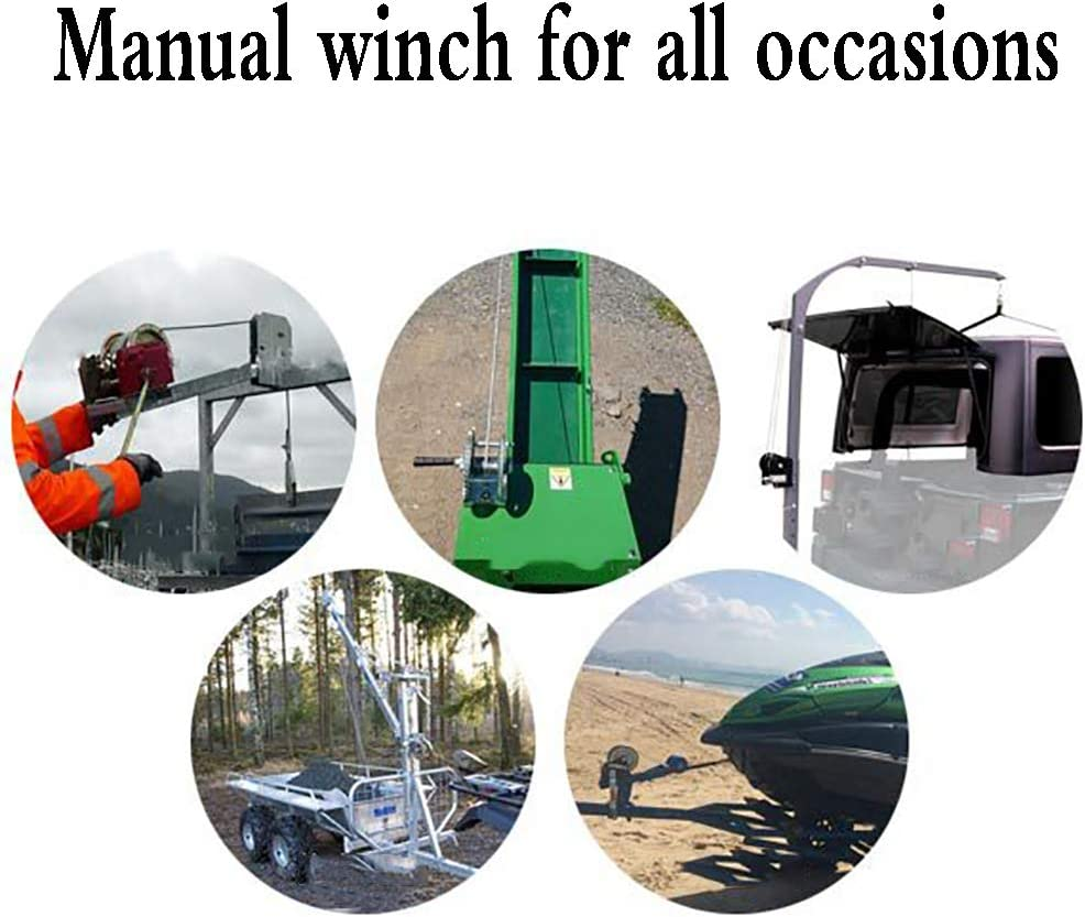 Dual for Trailer 2 XINGXINGNS 3500Lbs Heavy Duty Hand Winch with Cable 23ft Gear Boat or ATV 7M