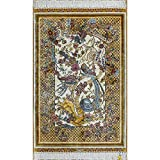 YLL 2'x3' Ivory Traditional Persian Rugs Silk Vintage Rabbits Design Handmade Area Rugs Tapestry