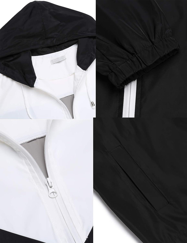 Parabler Regenjacke Damen wasserdichte Atmungsaktiv Leichte Kurze Regenmantel Windjacke Windbreaker Jacke /Übergangsjacke mit Kapuze