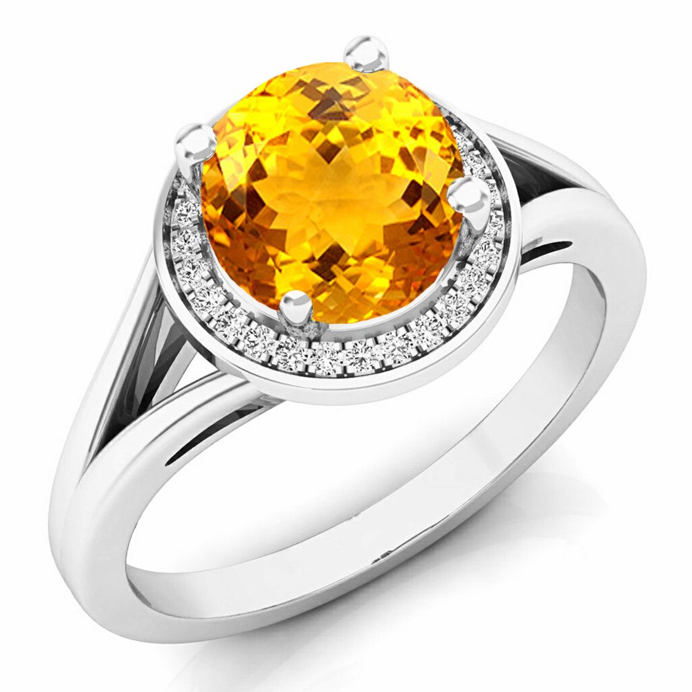 14K White Gold Citrine & White Diamond Halo Style Bridal Engagement Ring (Size 7) by DazzlingRock Collection