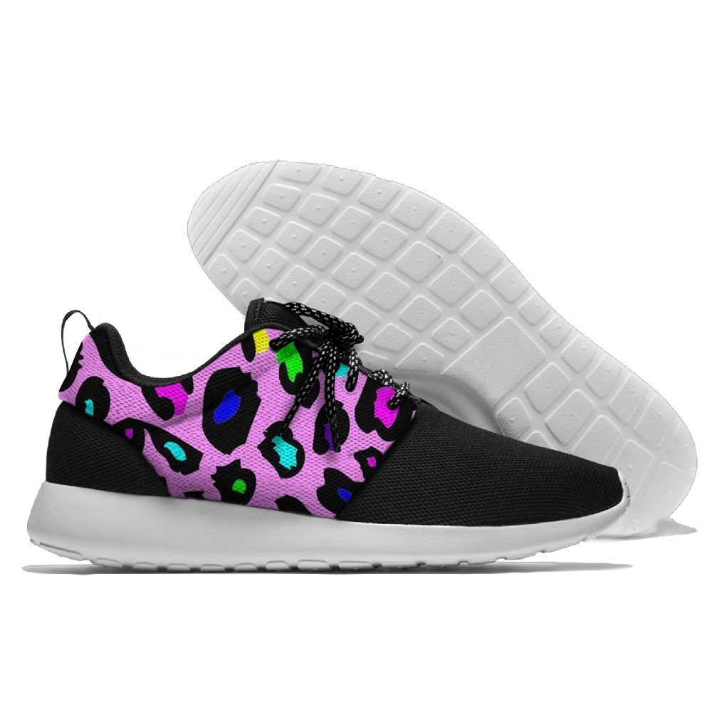 Pink Rainbow Leopard Print Womens Mens Running Shoes Fashion Sneakers Casual Sports Shoes 43 Lightweight Breathable