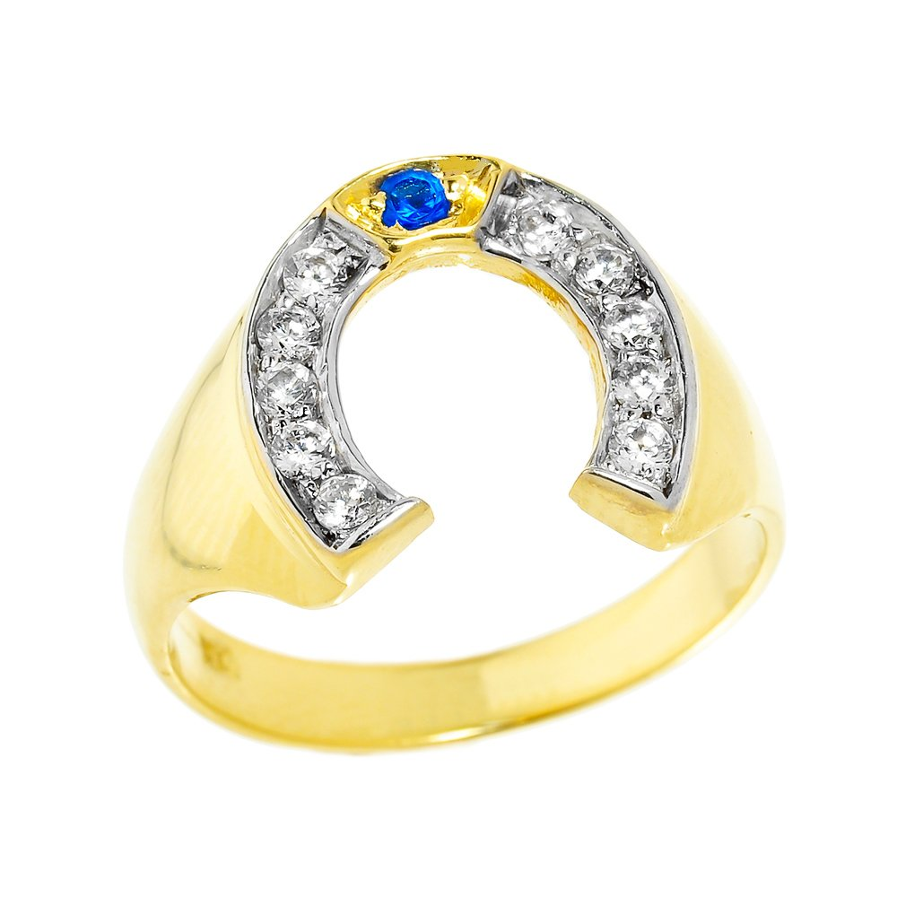 Men's 10k Yellow Gold Blue Sapphire and White Diamond Lucky Horseshoe Ring (Size 8.75)