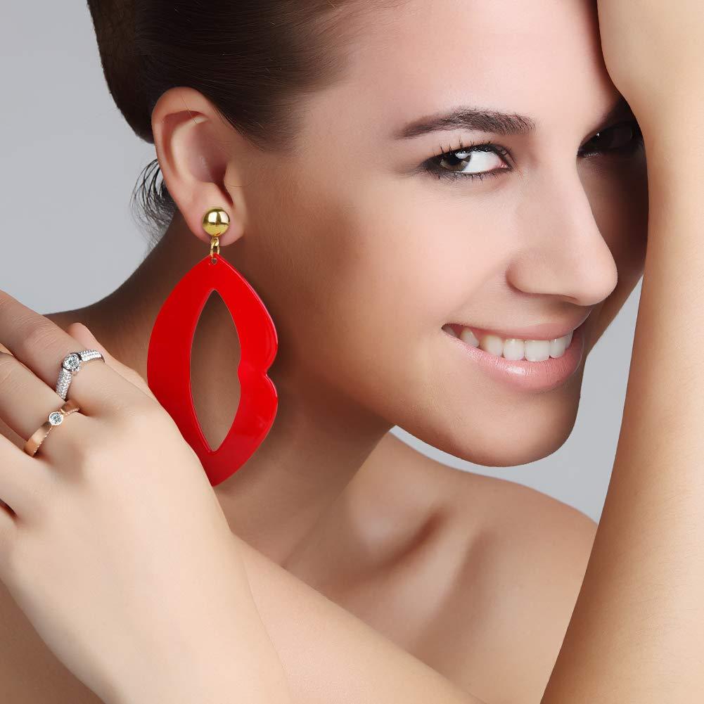 Acrylic Earrings,Acrylic Hoop Earrings for Women Lip Lightweight Resin Textured Drop Dangle Earrings(Red)