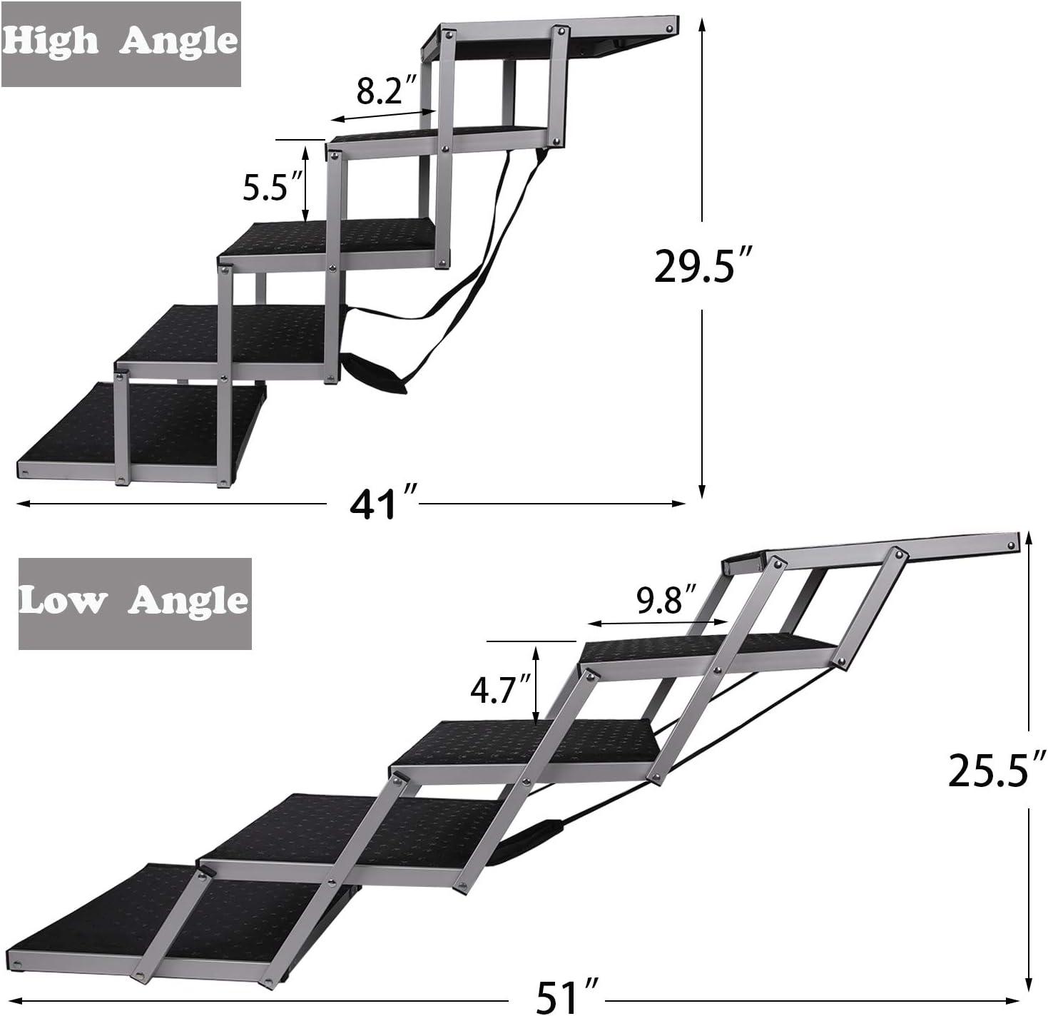 Snagle Paw - Escaleras de coche portátil para perros, con marco de aluminio de acordeón, rampa plegable para mascotas para uso en interiores y exteriores, ligera escalera grande para coches, camiones, SUVs