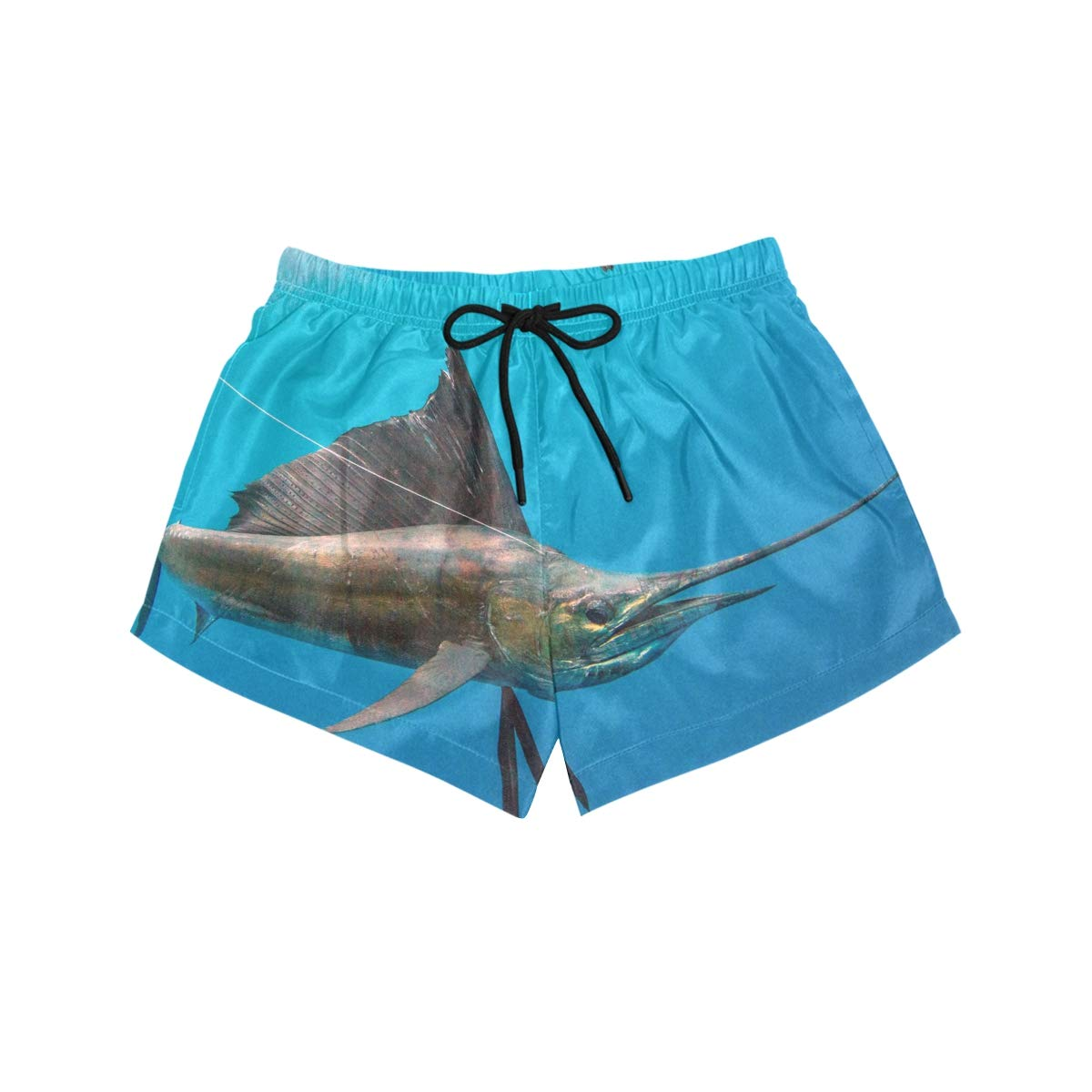 Sailfish in Deep Sea Womens Sport Beach Swim Shorts Board Shorts Swimsuit with Mesh Lining
