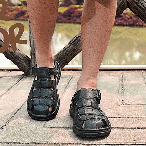 Pelle Sandali Per In Black Da Uomo Sandali HGDR Escursionismo Chiusi Trekking Da All'aperto 8nqBzdZ