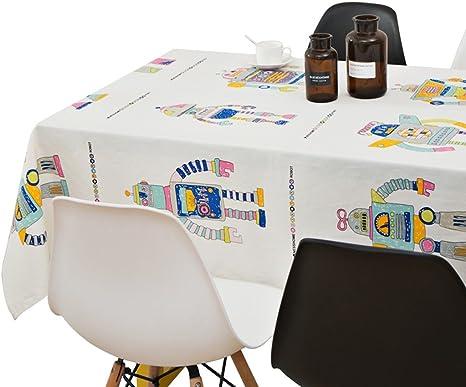 Manteles Robots de Dibujos Animados algodón y Lino Blancos rectangulares Toalla café impresión HD y teñido Textiles de Cocina (Size : 142 * 300cm (56 * 118inch)): Amazon.es: Hogar