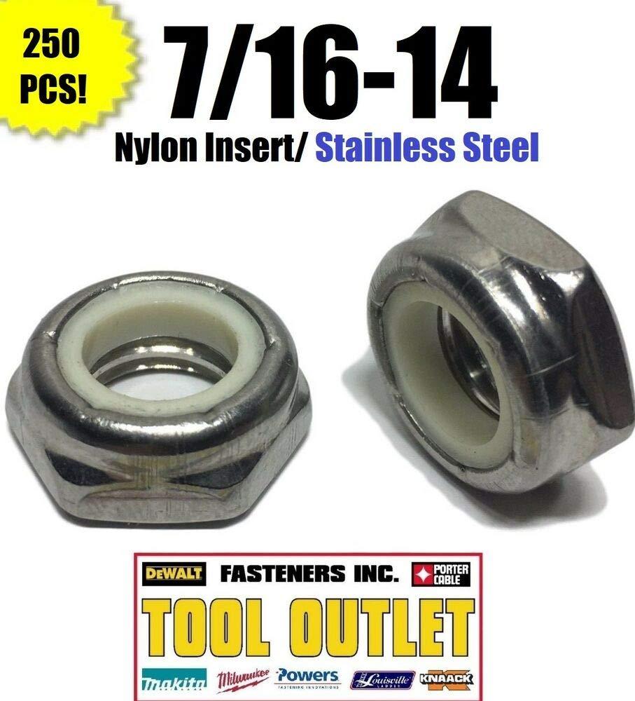 250 pcs Stainless Steel Half Height 7/16-14 Hex Jam Nylon Insert Lock nut Nylock