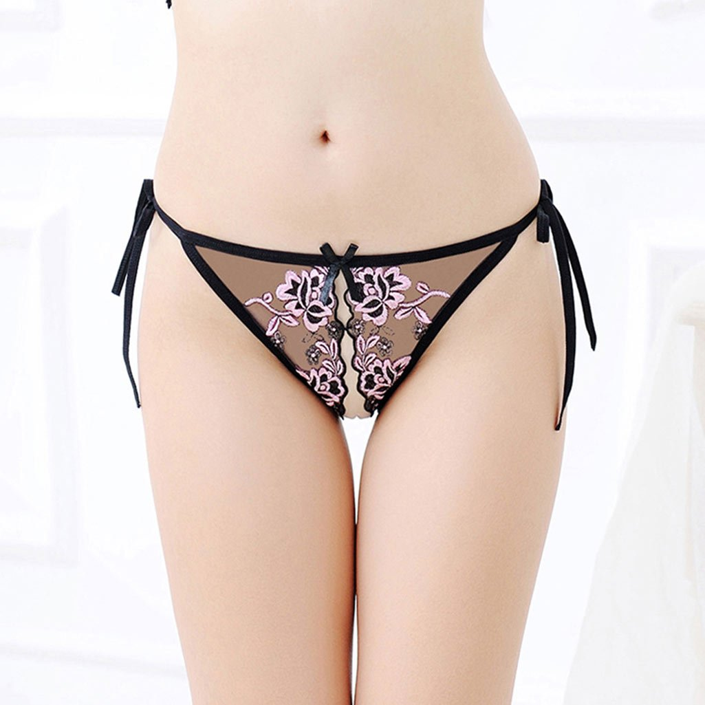 d50c621320a ... KHUFUZI Womens Sexy Massage Pearl Thong Lace Crotchless Panties T-Back  Lingerie for Ladies Girls ...