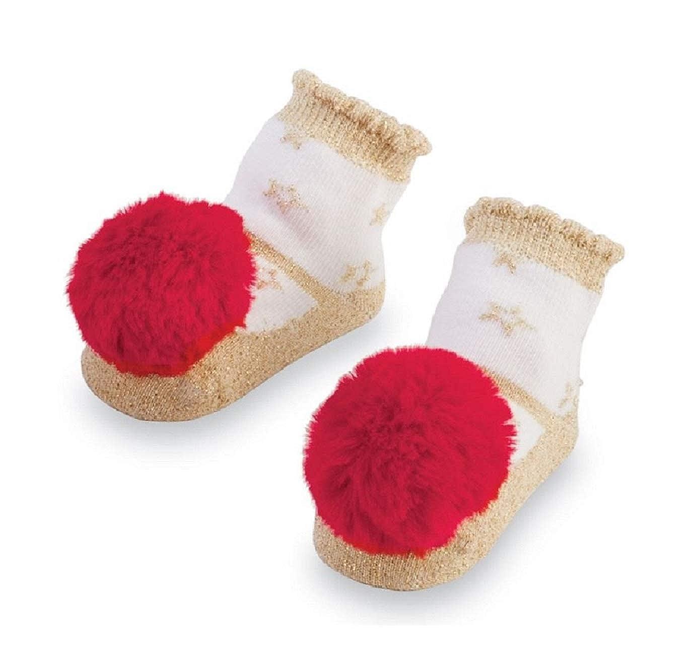 0-12 Months Mud Pie Glitter All The Way Red Pom Pom Rattle Toe Socks