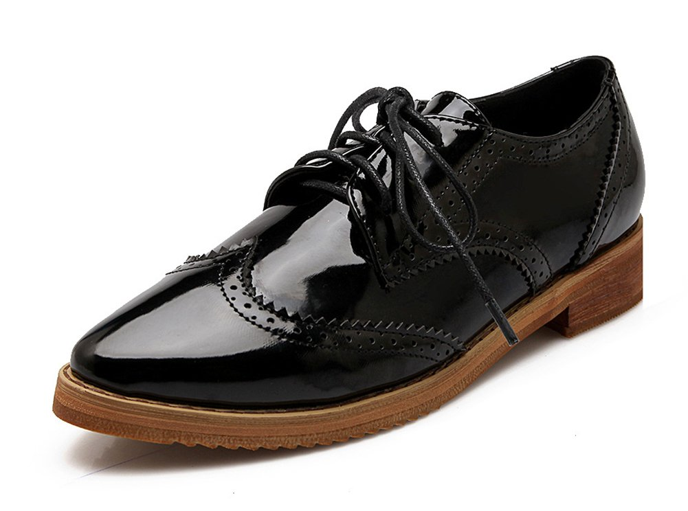 SHOWHOW Women's Trendy Pointed Toe Lace-up Low Top Brogue Shoes Stacked Low Heel Oxfords (8 B(M) US, Black) by SHOWHOW