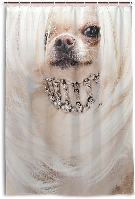 Waterproof Fabric Cute Chihuahua Shower Curtain Set Bathroom Decor Mat Hooks