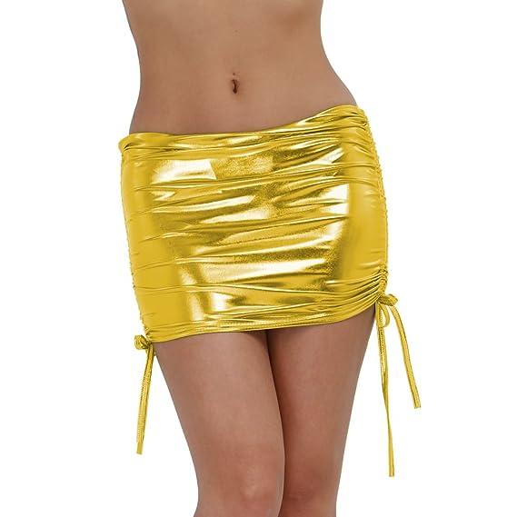 iEFiEL Falda Corta de Charol Lustrosa para Mujer Minifalda Femenina con  Tanga Interior Amarillo talla única  Amazon.es  Ropa y accesorios 5cc22ad8d3fb