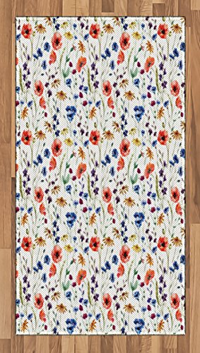 Lunarable Flower Area Rug, Wildflowers Poppy Chamomile Cornflowers Daisies Countryside Illustration, Flat Woven Accent Rug for Living Room Bedroom Dining Room, 2.6 x 5 FT, Coral Navy Blue Orange - Hall Orange Poppy