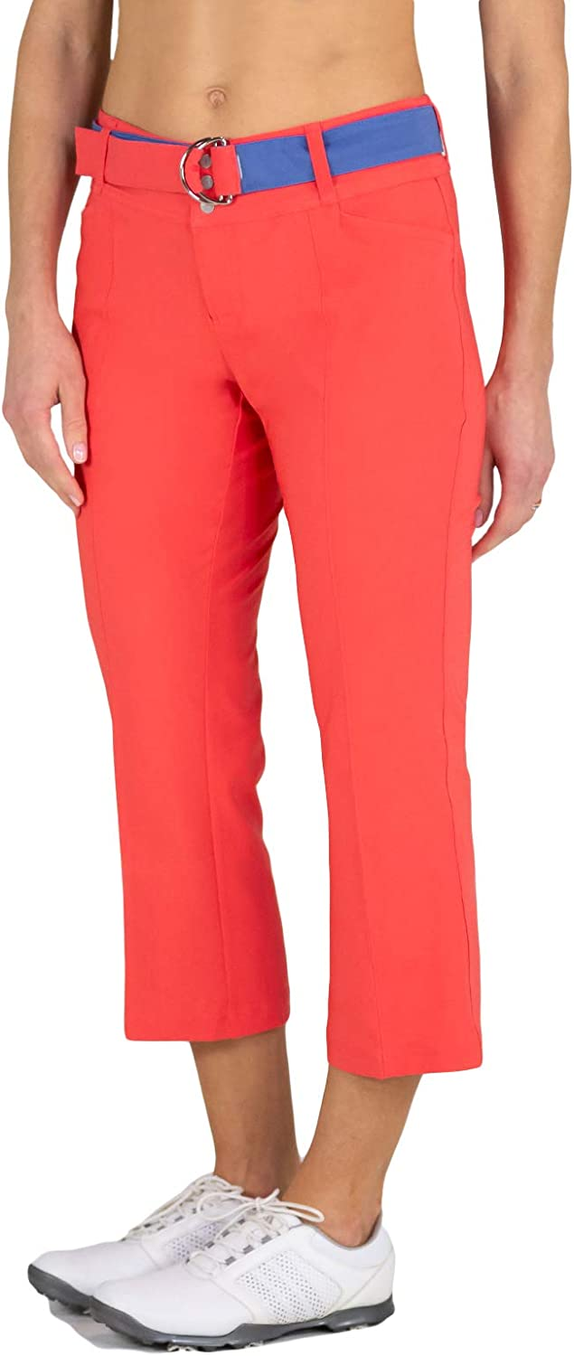 Jofit Womens Belted Flare Golf Capris Coral 14