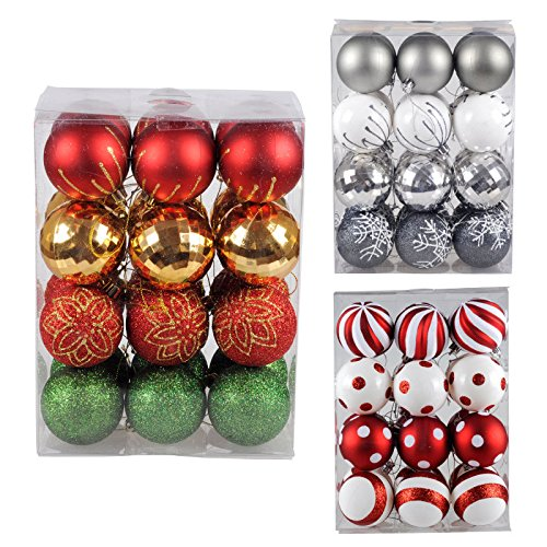 KI Store 24pcs Christmas Tree Balls Ornaments Shatterproof Ball for Xmas Trees, Parties, and Holiday Decorations, Perfect for Red, Gold, Green Classic Themed Decoration (2.36