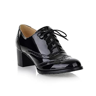 020a458c5311 Mostrin Women s Lace Up Wingtip Oxford Shoes Classic Fashion Patent Leather  Chunky Heel Bootie Black