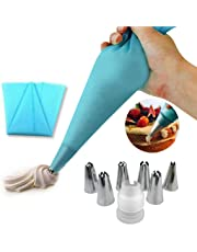 EQLEF® Silicone Icing Piping Cream Pastry Bag and 6 x Stainless Steel Nozzle Set DIY Cake DIY Decorating Tool