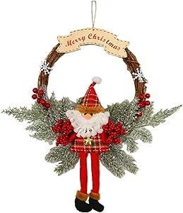 KOLODOGO 18 Inch Christmas Pine Artificial Wreaths, Front Door Wreath Party Door Wall Christmas Holiday Indoor Home Decor (Santa Claus)