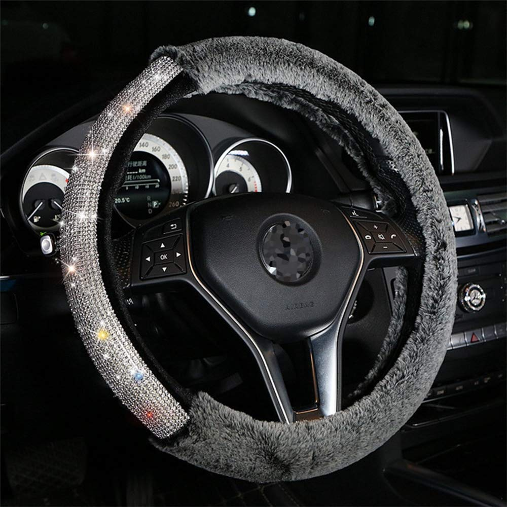 Alusbell Car Steering Wheel Cover Fur Bling Bling Rhinestone Luxurious Universal for Girls Lady Winter Warm