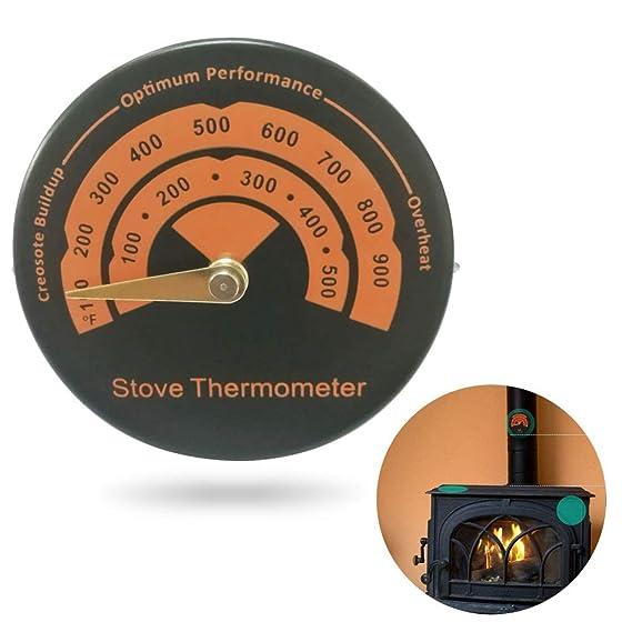 KOBWA Termómetro magnético de Lectura rápida de aleación de Aluminio para Horno, medidor de Temperatura, Tubo de Chimenea, termómetro para Estufas de leña, ...