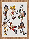Boy's Room Area Rug by Lunarable, Cartoon Style Children Happy Funny Kids Playing Soccer Boys Girls with the Ball, Flat Woven Accent Rug for Living Room Bedroom Dining Room, 5.2 x 7.5 FT, Multicolor