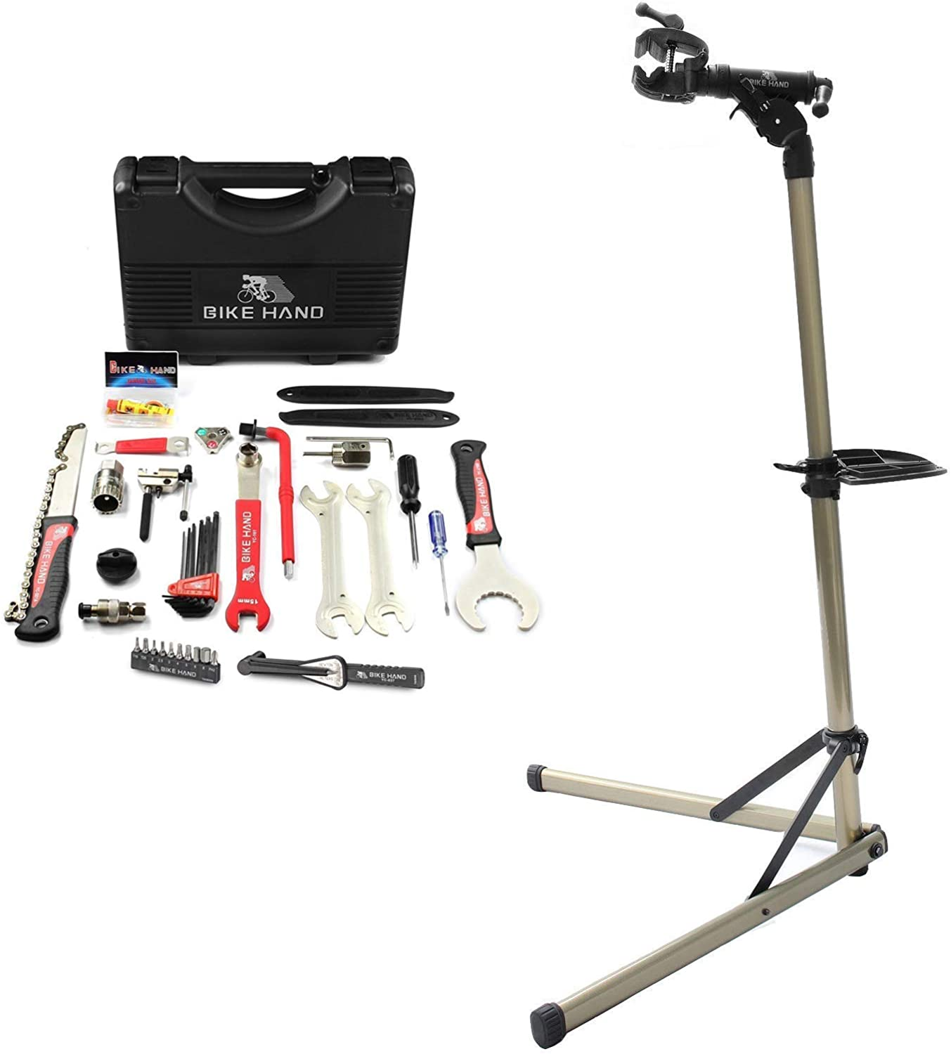 Bikehand Bike Repair Stand (Max 55 lbs) - Home Portable Bicycle Mechanics Workstand Bundle with BIKEHAND 17 Piece Bike Bicycle Repair Tool Kit Set Maintenance Kits with Torque Wrench