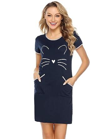 iClosam Camisón Mujer Gato Verano Pijama Casual Algodón Ropa de Dormir Talla Grande