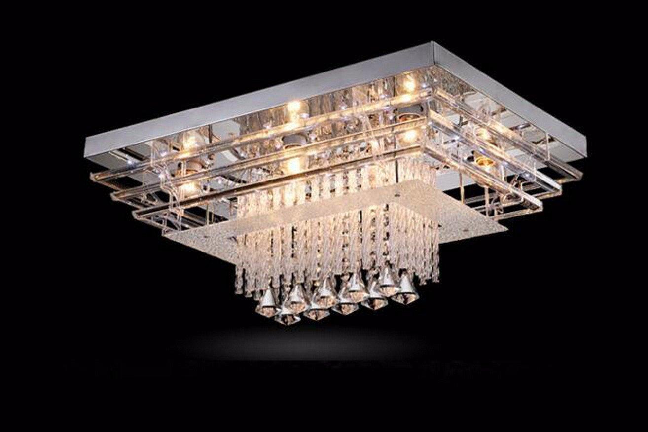 Plafoniera Rettangolare Cristallo : Olqmy lampada da soffitto moderna e semplice lampade del salone k9