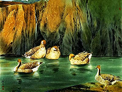 Ducks on River Oil Painting Reprodution. Based on Famous Traditional Chinese Realistic Painting. (Unframed and Unstretched).